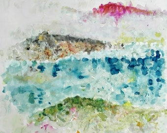 Original paint colors. great watercolor square on cotton paper. Sea and mountains. Large watercolour