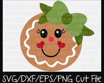 Gingerbread Girl SVG Cut File Christmas Cut File Gingerbread SVG Cookie Design Cricut Silhouette Design Petunia Petals Designs 11179