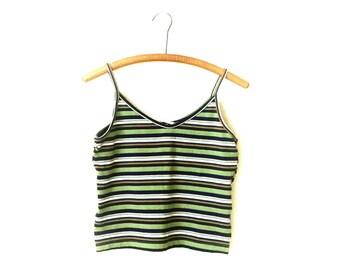 1990s grunge club kid striped spaghetti strap cropped crop top