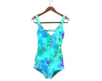 Vintage 1970s floral one piece swimsuit