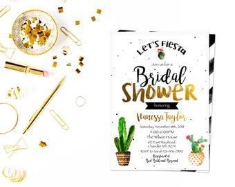 Black elegant fiesta shower card, Fiesta Bridal Shower Invitation, Cactus Bridal Shower Invitation, Fiesta Birthday , Fiesta Shower