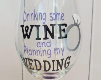 Wedding Planning Glass - Wedding Planning Wine Glass - Wine Glass for Future Mrs - Gift for Bride - Wedding Planning - Glitter Wine Glass