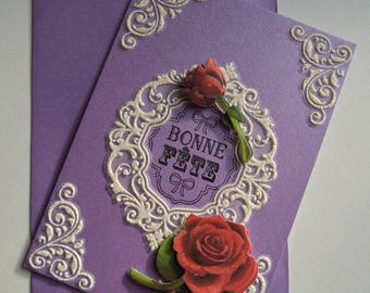 """Greeting card with envelope """"Happy birthday"""" with its frame and roses"""