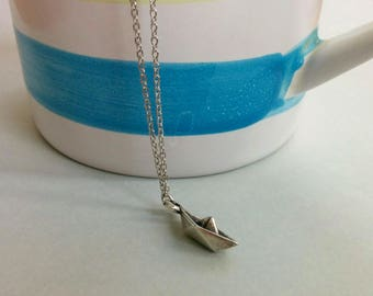 Paper boat. Necklace.