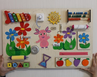 """Busy Board """"Luntik"""", Activity Board, Sensory Board, Montessori educational Toy, Wooden Toy, Fine motor skills board for toddlers & babies"""