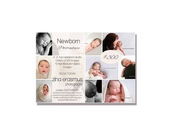 Newborn Marketing Flyer Photoshop Template, instant download, fully editable