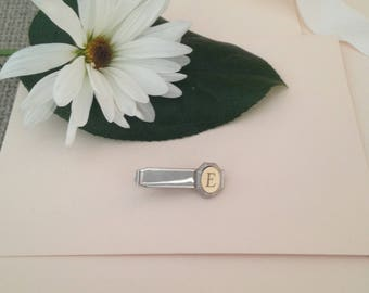 Monogrammed Tie Clip - Tie Clip for Men - Letter E Personalized Tie Clip - Tie Bar - Tie Track - Tie Clips - Gift for Men - Groomsmen Gift