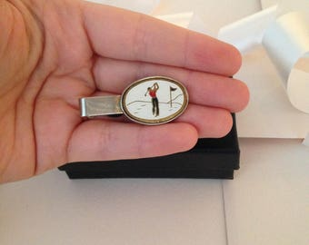 Golf Tie Clip - Golfing Tie Clip - Golf Lover Gift - Vintage Tie Clip - Tie Bar - Tie Track - Tie Slide - Sports Tie Clip - Gift for Him