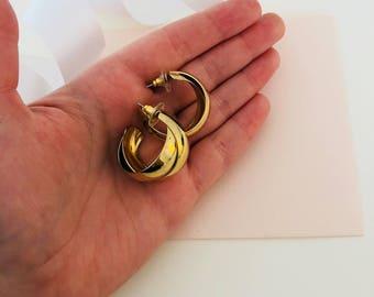 Hoop Earrings - 80s Earrings - 1980s Earrings - 80s Hoop Earrings - Gold Hoop Earrings - Vintage Earrings - Medium Hoop Earrings - Gift Idea