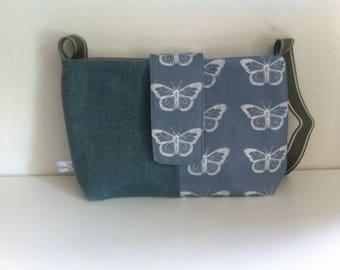 Blue Harris tweed and butterfly handbag. Harris tweed and blue butterflies print fabric. Gift for her, birthday gift, 7th Anniversary
