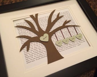 Anniversary Gift for Parents, Wedding Gift for Couple, Vow Print, Genealogy Art, Lyric Tree, Hanging Hearts, Blended Family, First Dance Art