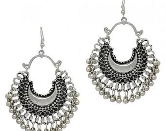 Bohemian German silver handmade Afghani earrings / gift / Party - culturelink