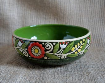 Gift|for|new home housewarming gift Ceramic bowl Green pottery bowl Cereal bowl Soup bowl Serving dish Home gifts Wedding anniversary gift
