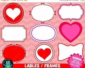75% OFF SALE Valentines Frames Labels Clipart, Valentine Frames, Valentine Labels, Doodle Frames, SVG Frames - Uz810