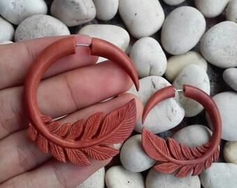 Fake gauge earrings, Leaves, fake gauges, wooden fake gauge earrings, tribal wood earrings, fake gauge tribal