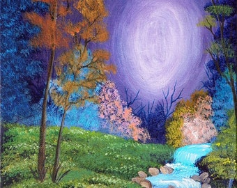 Print of original painting magical landscape 8 x 10.  Matted to 11 x 14, FREE shipping!!