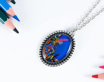 """Pendant """"Chromatic"""" electric blue from pencil shavings"""
