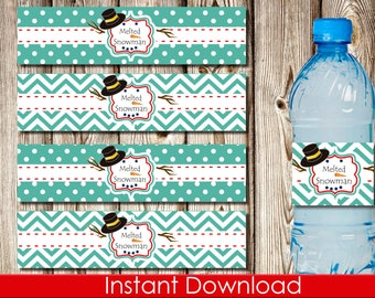 Printable Melted Snowman Water Bottle Label, Christmas Water Bottle Label, Christmas Party, Instant Download, DIY