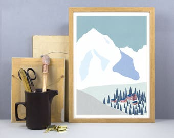 Winter Ski Resort Print - A3, A4 Size - Skiing Village Print - Ski Resort Wall Art - Alps Mountain Poster - Christmas Interior Decor