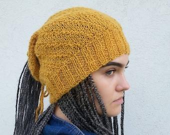 Mustard dreadlock hat,  Mustard Hat,  Rasta Hat,  Dreadlock Headband,  Dreadlock tube,  Dread Wrap,  Slouchy Hat, Dread Hat,   Ready to ship