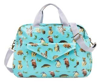 Oilcloth Overnight Bag Australia animal koala- Mothers Nappy bag Baby bag Diaper bag Women Travel weekend bag Ladies Duffel bag Carry on bag