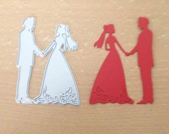 Bride and groom die cut metal die cutter stencil scrap booking card making paper wedding