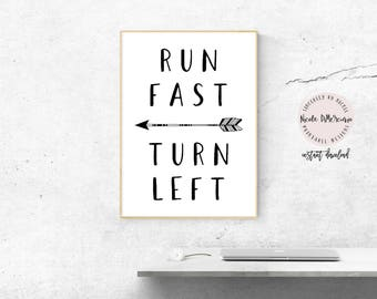 Run Fast Turn Left, Instant Download, Track And Field, Gift For Runner, Cross Country, Running Gifts, Track And Field Gift, Running Print