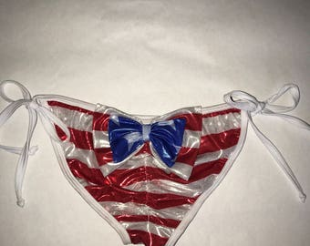 Metallic Fourth of July// Patriotic// Bow Scrunxh bottoms