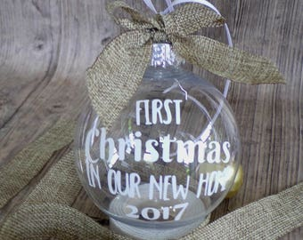 First Christmas in our new home, bauble, new home bauble, christmas ornament, rustic christmas decorations, tree decorations, tree ornament