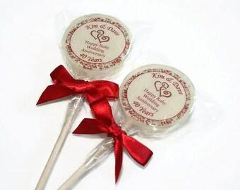 Anniversary Lollipops, Ruby Wedding Anniversary Gift, Ruby Anniversary Gift, Ruby Wedding Favours, Lovely Lollies, Anniversary Gift, UK