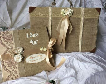 Rustic wedding urn set his guest book with vintage ivory and burlap