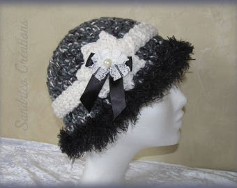 Grey and Black Hat knitted hand crochet border and thick wool faux fur