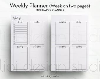 Weekly Planner, MINI Happy Planner, Week on Two pages, Printable Planner, Daily Planner, Mini MAMBI, Planner Inserts, Mambi Planner, Undated