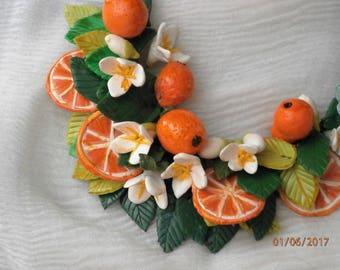 Polymer clay necklace ORANGES with oranges, flowers and orange leaves