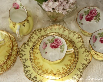Rosina, England: Charming yellow tea set for four (with gorgeous pink roses)