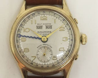 Summer Sale: 1950's Hallmark Triple Date Calendar Watch