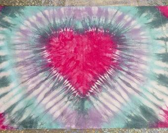 Tie dye pillowcase, heart tie dye, pastel tie dye, pink, turquoise, purple, green, tie dye bedding, tiedye pillow case