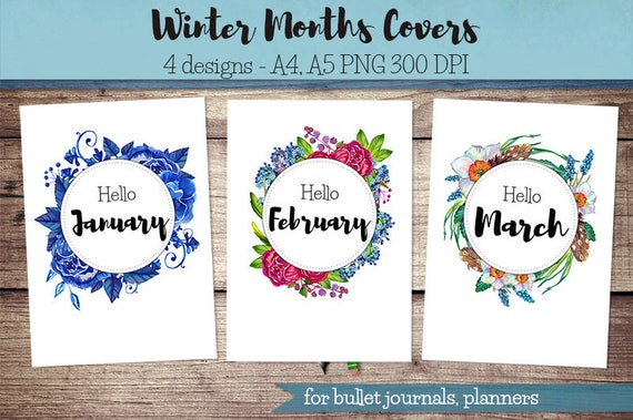 Book Cover Printable January ~ Winter months covers for bullet journal planner hello