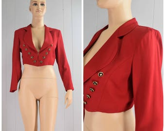 Vintage Womens 1990s Cropped Red Blazer Jacket with Gold and Black Accent Buttons | Size M