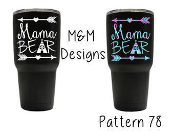 Lilly Pulitzer Mama Bear decal for yetis, corkcicles, cars, laptops,and so much more!!