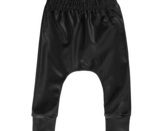 faux leather baby pants, baby pants, black baby harem pants, neutral baby pants, modern baby pants, hipster baby pants