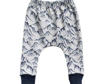 blue mountain  harem pants, blue baby pants, baby pants, toddler harem pants, french terry harem pants, harem pants