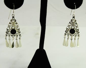 Reserved Debclaus Sterling Onyx Dangle Pierced Earrings