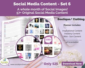 Social Media Images - Content for Clothing / Boutique (SET 6) -- 57+ original images with blank planner pages, checklists, tasks, and goals