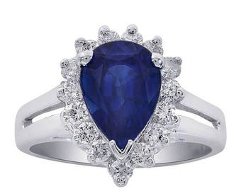 ON SALE 1.30 Carat Blue Sapphire with Diamond Ring 14K White Gold