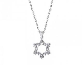 ON SALE 0.45 Carat of David Diamond Pendant in 14K White Gold