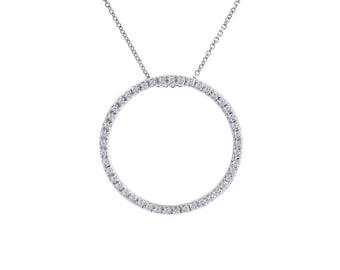 0.45 Carat Diamond Bright Sparkling Eternity Pendant 14K White Gold