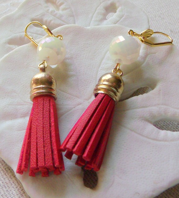 Red leather earrings -  faux earrings - creamy crystals dangles - light weight - gold tone classic design -  2 inch - vacation -resort wear