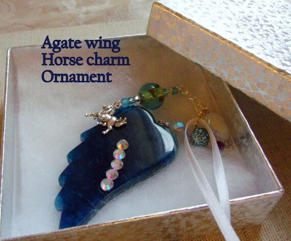 Horse loss gift - equestrian memento - Teal blue agate wing ornament - gemstone keepsake - Pet loss gift - Dog/cat - gift box set - charms