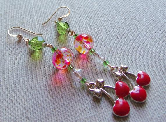 Cherry earrings - enamel charms- fruit earrings - pink green beads -  2 inch long - dangle cherries earrings - Gift for girl - Lizporiginals